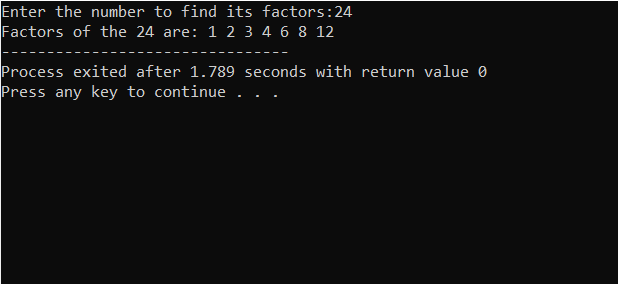 C implementation for Factor of number
